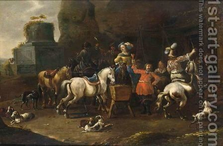 A Merry Hunting Party Resting Near An Inn With Hounds In The Foreground by Simon Johannes van Douw - Reproduction Oil Painting