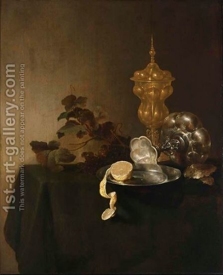 A Still Life Of A Tazza, A Peeled Lemon On A Pewter Plate, A Silver-Gilt Cup With Cover And Grapes by Jan Davidsz. De Heem - Reproduction Oil Painting