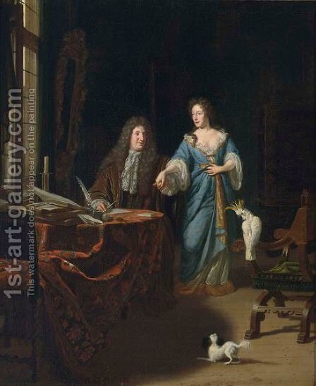 A Portrait Of An Elegant Couple Behind A Table In An Elaborate Interior by Michiel van Musscher - Reproduction Oil Painting