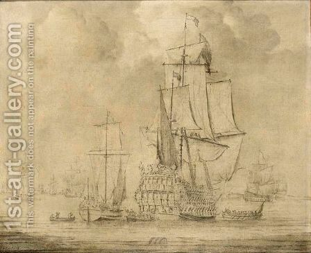 A Yacht, Rowing Boats And Other Shipping In A Calm by (after) Willem Van De, The Younger Velde - Reproduction Oil Painting