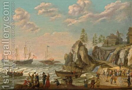 A Coastal Landscape With A Galley, An English Galley Frigate by Isaac Willaerts - Reproduction Oil Painting