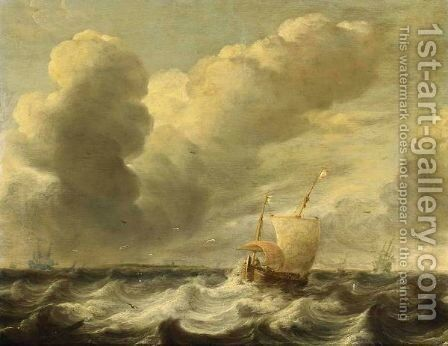 A Dutch Hoeker In Stormy Waters With Other Sailing Vessels In The Background by Jacob Adriaensz. Bellevois - Reproduction Oil Painting