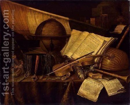 A Vanitas Still Life  With Books And Leaflets, A Globe, A Princely Flag, A Musical Score, Musical Instruments by Edwart Collier - Reproduction Oil Painting