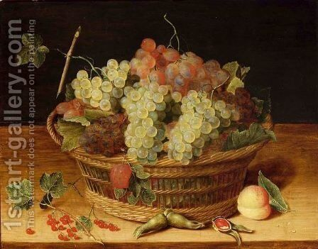 A Still Life With Blue And White Grapes In A Basket, Together With Red Currants, Hazelnuts And A Peach, All On A Wooden Ledge by (after) Isaak Soreau - Reproduction Oil Painting