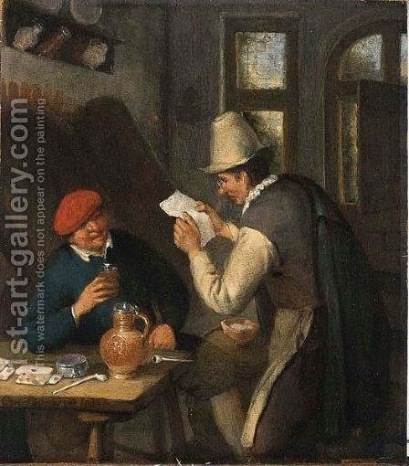 A Notary Reading A Letter To A Peasant Seated At A Table, Drinking And Smoking In An Interior by Cornelis Dusart - Reproduction Oil Painting