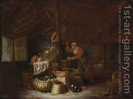 An Interior Of A Barn With A Maid Drawing Water From A Well by Dirck Wyntrack - Reproduction Oil Painting