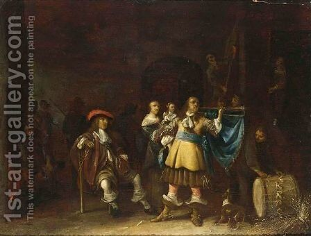 A Kortegaardje Soldiers In A Waiting Room Together With A Trumpeteer And A Mother And Child by Anthonie Palamedesz. (Stevaerts, Stevens) - Reproduction Oil Painting