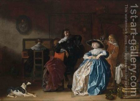 An Elegant Couple Conversing, Another Couple At A Virginal Together With A Servant In An Interior by Anthonie Palamedesz. (Stevaerts, Stevens) - Reproduction Oil Painting