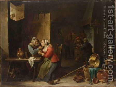 An Interior Of An Inn With An Amorous Couple At A Table, And Figures Smoking Near A Fireplace In The Background by David The Younger Teniers - Reproduction Oil Painting
