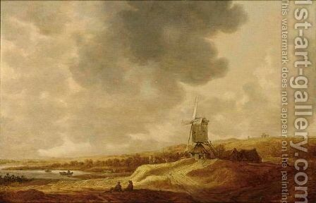 A Panoramic River Landscape With A Windmill And Travellers Resting In The Foreground by (after) Johannes Pieterszoon Schoeff - Reproduction Oil Painting
