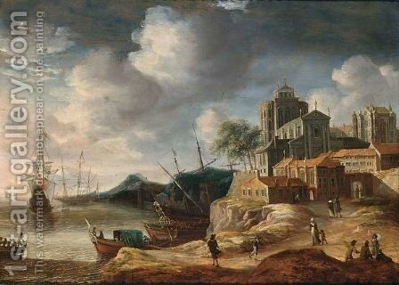 A Capriccio Coastal Landscape With Classical Buildings, With A State Yacht And Other Shipping, Figures On A Path Towards City Walls by Anthonie Beerstraten - Reproduction Oil Painting