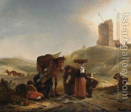 A Dune Landscape With Fishmongers Selling Their Ware An Dtravellers On A Path, A Light House Beyond by (after) Philips Wouwerman - Reproduction Oil Painting