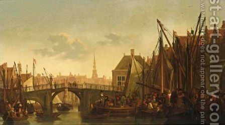 Dordrecht A View Of The Appelmarkt With The Oude Haven And The Nieuwbrug, A View Of The Tower Of The Groothoofdspoort In The Distance by Abraham Van Calraet - Reproduction Oil Painting