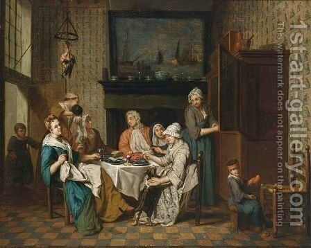 An Interior With An Elegant Company Dining, A Child Playing In The Right Foreground by Jan Jozef, the Younger Horemans - Reproduction Oil Painting