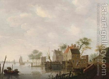 A Village Along A River With Fishermen Fishing In Front, Three Sailing Vessels Beyond by Hendrick Willelm Schweickhardt - Reproduction Oil Painting