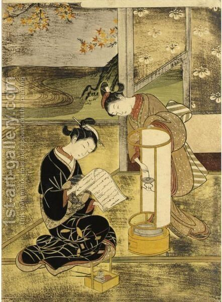 The Evening Glow Of The Lamp by Suzuki Harunobu - Reproduction Oil Painting