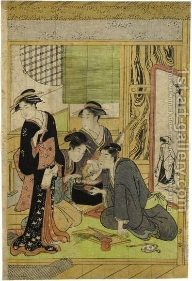Lady's with tea by Chobunsai Eishi - Reproduction Oil Painting