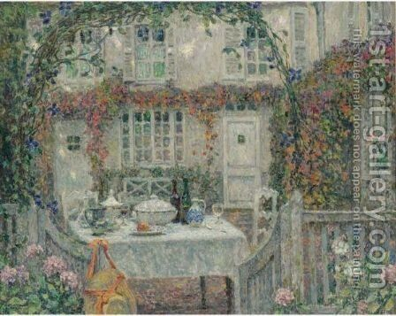 La Table, Automne, Gerberoy by Henri Eugene Augustin Le Sidaner - Reproduction Oil Painting