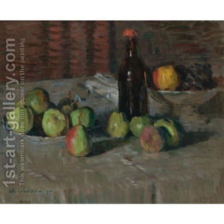 Stilleben Mit Apfeln Und Flasche (Still-Life With Apples And Bottle) by Alexei Jawlensky - Reproduction Oil Painting