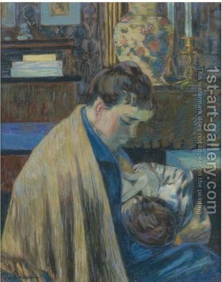 Mere Et Enfant by Armand Guillaumin - Reproduction Oil Painting