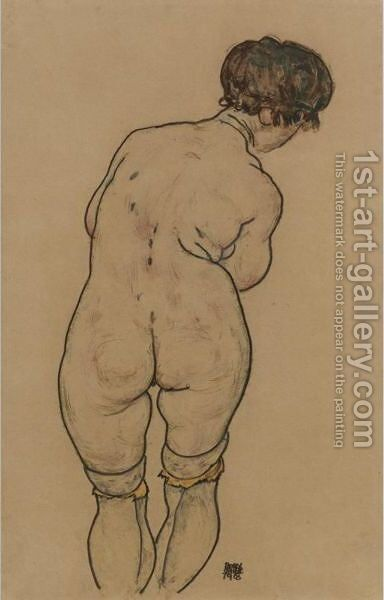 Stehender Weiblicher Ruckenakt (Standing Female Nude Seen From Behind) by Egon Schiele - Reproduction Oil Painting