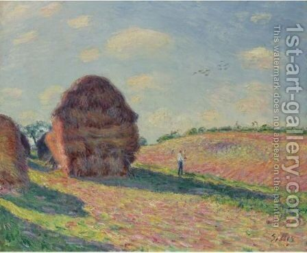 Les Meules 2 by Alfred Sisley - Reproduction Oil Painting