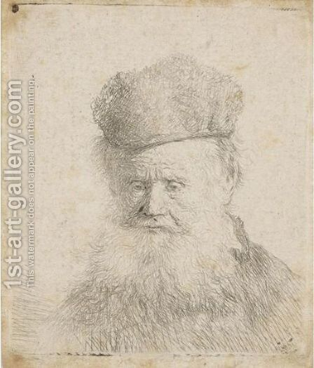 Bust Of An Old Man With A Fur Cap And Flowing Beard, Nearly Full Face, Eyes Direct by Rembrandt - Reproduction Oil Painting
