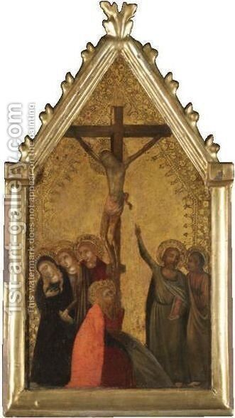 The Crucifixion, With The Three Maries, Saints Peter And John The Evangelist by Central Italian School - Reproduction Oil Painting