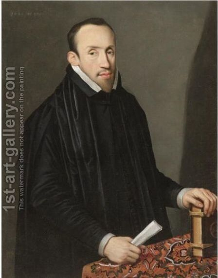 Portrait Of A Gentleman, Half Length, Wearing Black And Holding A Piece Of Paper And Resting A Hand On A Book by Spanish School - Reproduction Oil Painting
