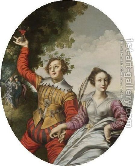 A Courting Couple In A Landscape by (after) Claude Deruet - Reproduction Oil Painting