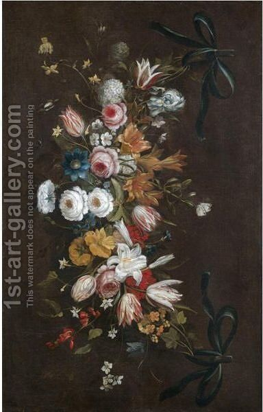 A Swag Of Roses, Tulips, Lilies, Irises, Honeysuckle And Various Other Flowers by (after) Jan The Elder Brueghel - Reproduction Oil Painting
