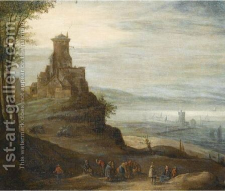 A River Landscape With Figures In The Foreground, A Castle Beyond by (after) Jan The Elder Brueghel - Reproduction Oil Painting