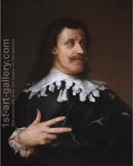 Portrait Of A Gentleman, Head And Shoulders, Wearing Black With A White Ruff by (after) Dyck, Sir Anthony van - Reproduction Oil Painting