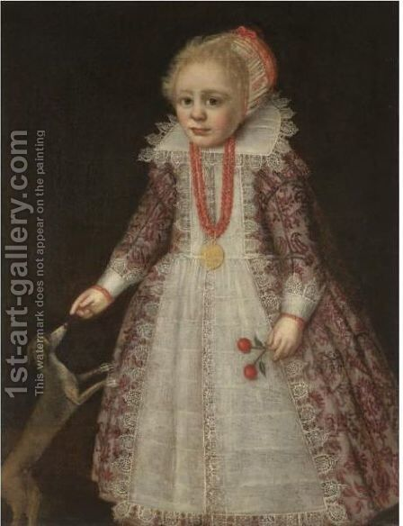 Portrait Of A Young Child, Full Length, Wearing A Pink Embroidered Dress by (after) Anthony Van Ravesteyn - Reproduction Oil Painting