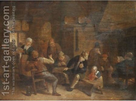 A Tavern Interior With Boors Smoking And Drinking by (after) Adriaen Jansz. Van Ostade - Reproduction Oil Painting