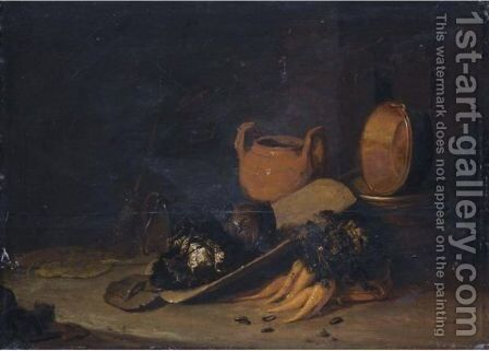 A Still Life With A Terracotta Urn, A Copper Basin, Cabbages And Carrots, Set In A Barn Interior by (after) Egbert Lievensz. Van Der Poel - Reproduction Oil Painting