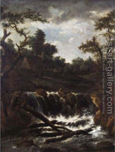 A Wooded Landscape With A Cascade, A Cottage Beyond by (after) Jacob Van Ruisdael - Reproduction Oil Painting