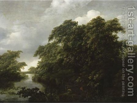 A River Landscape With Two Fishermen Mooring Their Boat by (after) Jan Lagoor - Reproduction Oil Painting