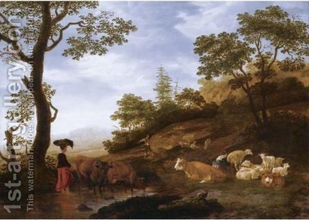 A Landscape With Sheep, Cattle And Herdsmen, With A Town Beyond by Jacob Gerritsz. Von Bemmel - Reproduction Oil Painting