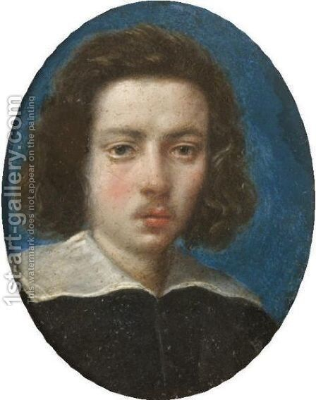Portrait Of A Gentleman, Head And Shoulders, Wearing Black With A White Ruff, With A Blue Background by (after) Cesare Dandini - Reproduction Oil Painting