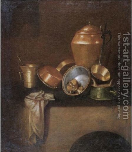 Still Life With Various Copper Cooking Utensils On A Hearth by Martin Dichtl - Reproduction Oil Painting