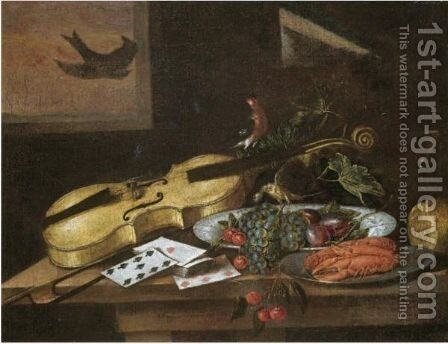 Still Life With Grapes, Plums And Cherries In A Porcelain Bowl by Italian School - Reproduction Oil Painting