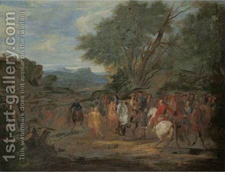 Louis XIV Giving Orders To Monsieur De La Breteche, Colonel Of The Dragoons, At The Siege Of Leeuwe by (after) Adam Frans Van Der Meulen - Reproduction Oil Painting