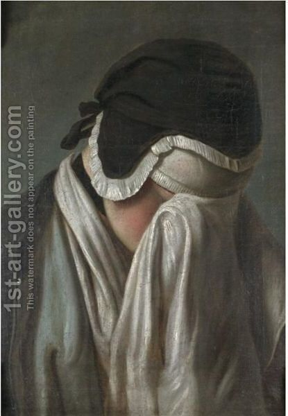 Portrait Of A Young Girl, Head And Shoulders, Hiding Her Eyes by (after) Pietro Antonio Rotari - Reproduction Oil Painting
