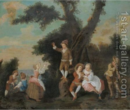 A Landscape With Children Harvesting Fruit by (after) Lancret, Nicolas - Reproduction Oil Painting
