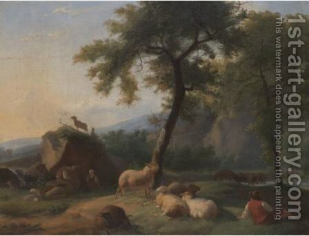 A Pastoral Landscape With A Shepherd Resting With His Flock, And A Herder Watering His Cattle In A River Beyond by (after) Caspar Wilhelm Ernst Dietrich - Reproduction Oil Painting