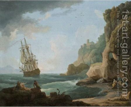 A Mediterranean Coastal Scene With Shipping In A Breeze And Fishermen On The Shore by (after) Claude-Joseph Vernet - Reproduction Oil Painting