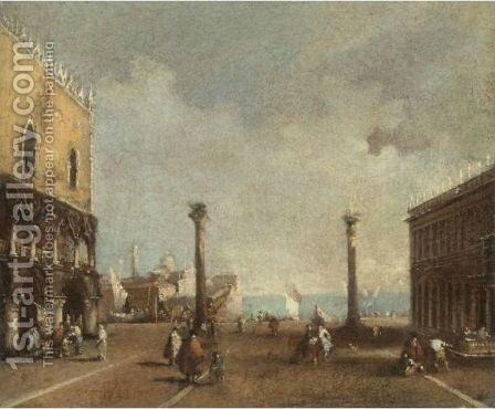 Venice, A View Of The Piazzetta With The Church Of S. Giorgio Maggiore In The Distance by (after) Francesco Guardi - Reproduction Oil Painting