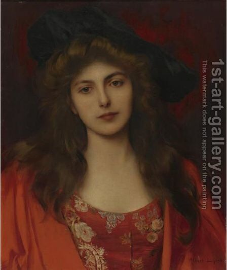 The Red Brocade by Albert Lynch - Reproduction Oil Painting
