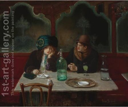 Cafe Society by Jean-Georges Beraud - Reproduction Oil Painting